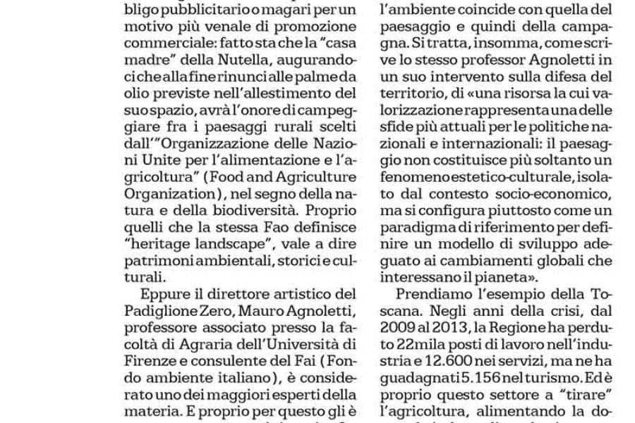 La Repubblica 2/03/2015- Commento di Giovanni Valentini su Paesaggio e EXPO
