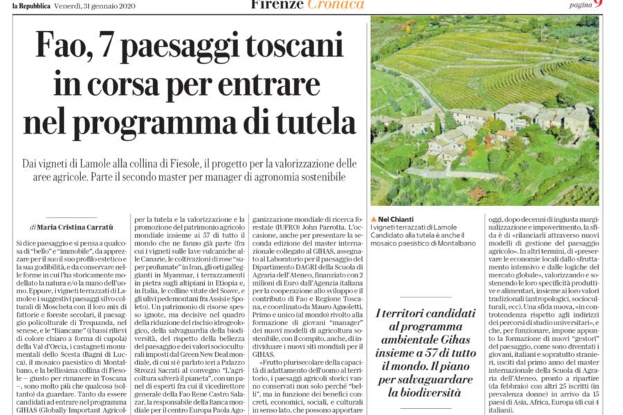 FAO, 7 paesaggi toscani in corsa per entrare nel programma di tutela